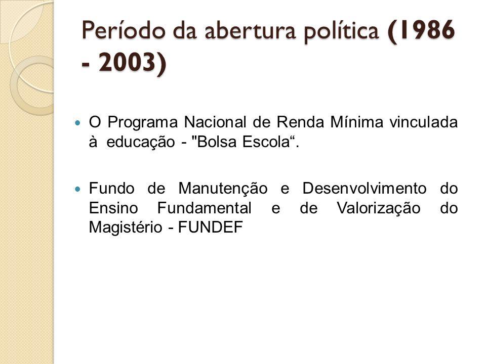 Período da abertura política (1986 - 2003) O Programa Nacional de Renda Mínima vinculada à educação -