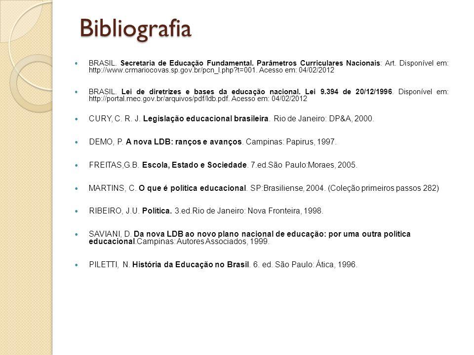 Bibliografia BRASIL. Secretaria de Educação Fundamental. Parâmetros Curriculares Nacionais: Art. Disponível em: http://www.crmariocovas.sp.gov.br/pcn_