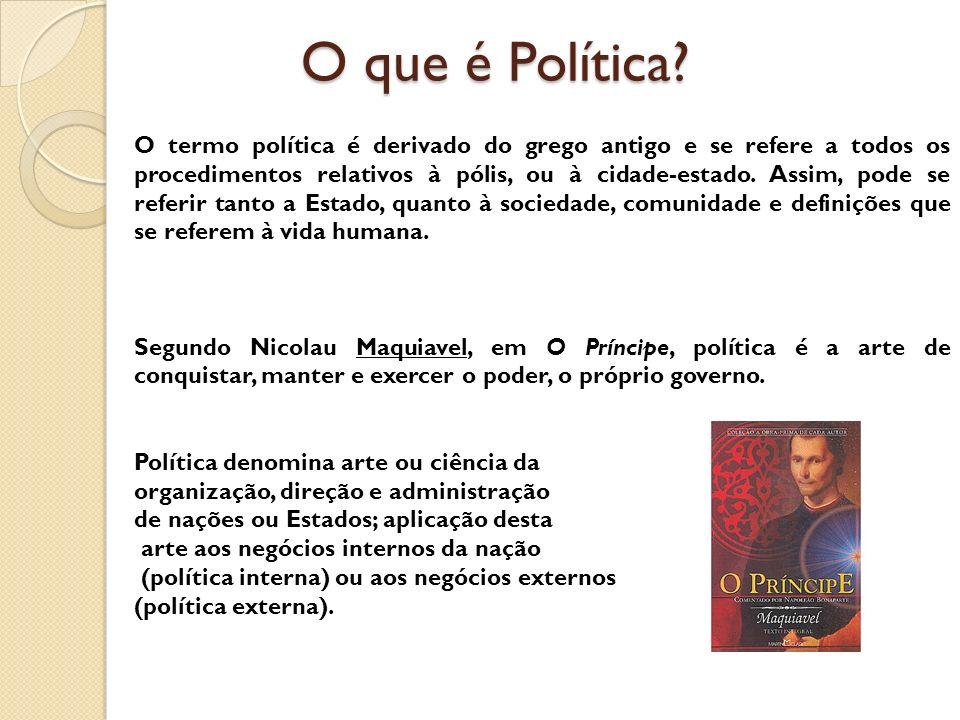 O que é Política? O termo política é derivado do grego antigo e se refere a todos os procedimentos relativos à pólis, ou à cidade-estado. Assim, pode