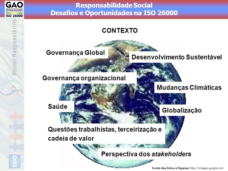 Responsabilidade Social Desafios e Oportunidades na ISO 26000 CONTEXTO Governança Global Globalização Perspectiva dos stakeholders Questões trabalhist