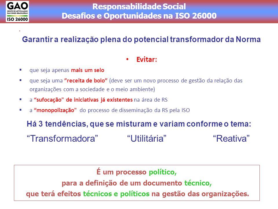 Responsabilidade Social Desafios e Oportunidades na ISO 26000 Evitar: que seja apenas mais um selo que seja uma receita de bolo (deve ser um novo processo de gestão da relação das organizações com a sociedade e o meio ambiente) a sufocação de iniciativas já existentes na área de RS a monopolização do processo de disseminação da RS pela ISO É um processo político, para a definição de um documento técnico, que terá efeitos técnicos e políticos na gestão das organizações.