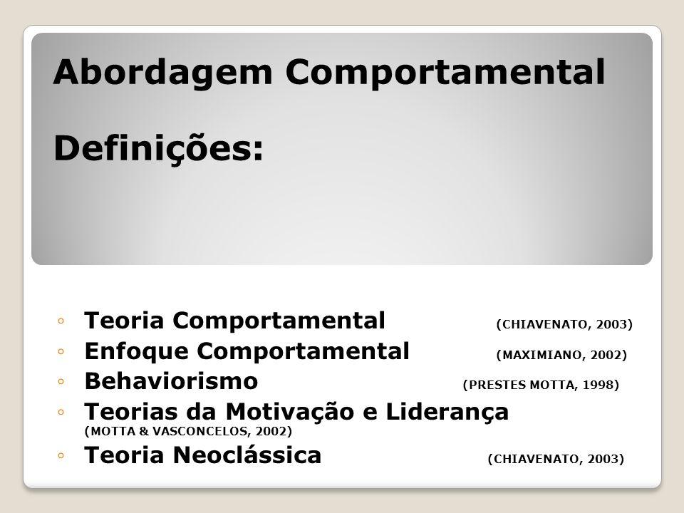 Teoria Comportamental (CHIAVENATO, 2003) Enfoque Comportamental (MAXIMIANO, 2002) Behaviorismo (PRESTES MOTTA, 1998) Teorias da Motivação e Liderança