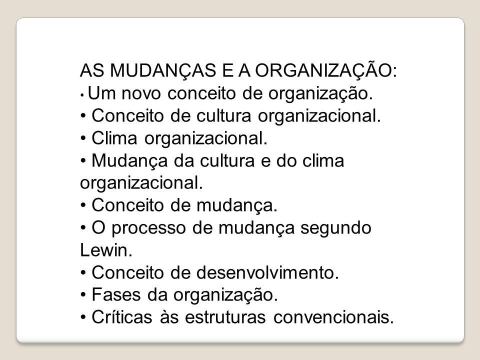 AS MUDANÇAS E A ORGANIZAÇÃO: Um novo conceito de organização. Conceito de cultura organizacional. Clima organizacional. Mudança da cultura e do clima