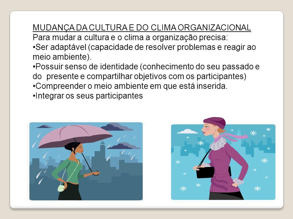 MUDANÇA DA CULTURA E DO CLIMA ORGANIZACIONAL Para mudar a cultura e o clima a organização precisa: Ser adaptável (capacidade de resolver problemas e r