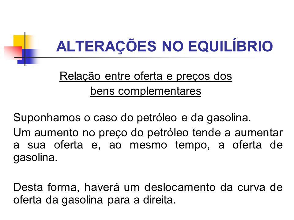 Suponhamos o caso do petróleo e da gasolina. Um aumento no preço do petróleo tende a aumentar a sua oferta e, ao mesmo tempo, a oferta de gasolina. De