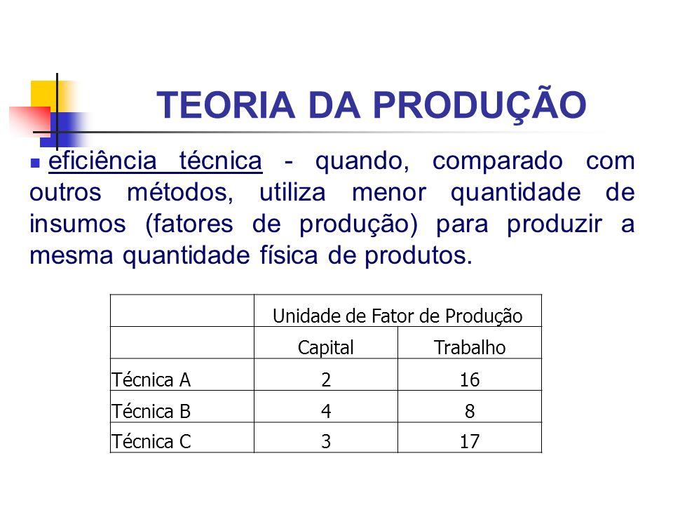TEORIA DA PRODUÇÃO eficiência técnica - quando, comparado com outros métodos, utiliza menor quantidade de insumos (fatores de produção) para produzir