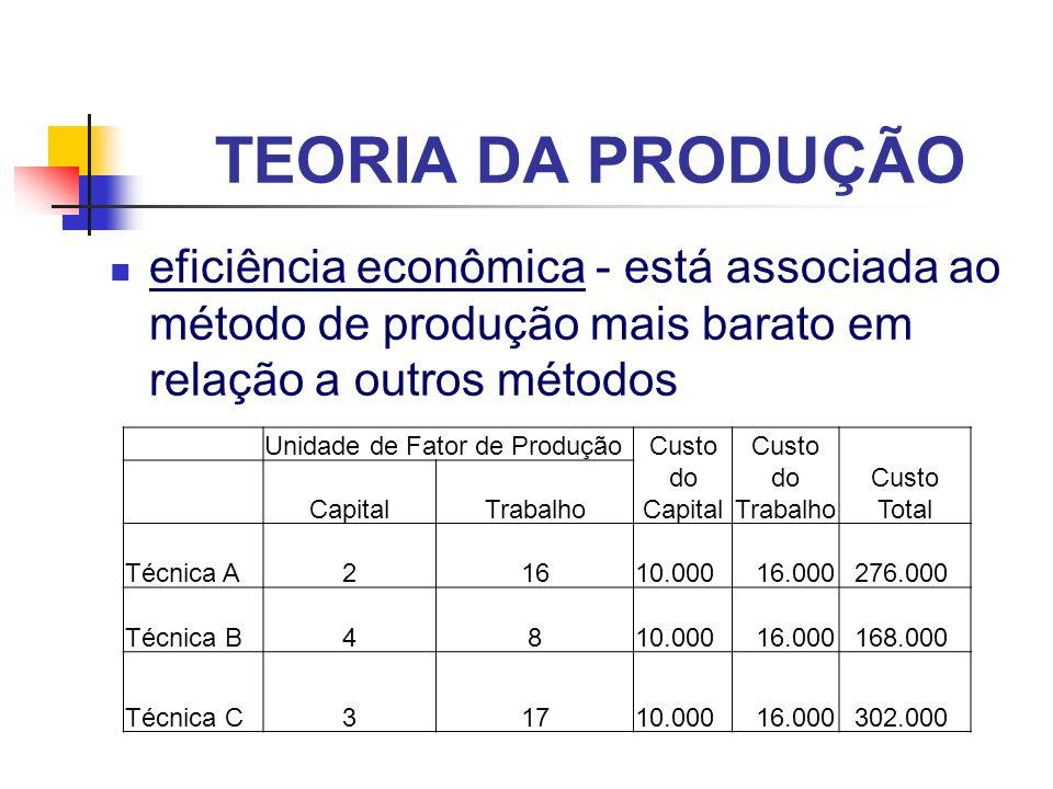 TEORIA DA PRODUÇÃO eficiência econômica - está associada ao método de produção mais barato em relação a outros métodos Unidade de Fator de Produção Cu