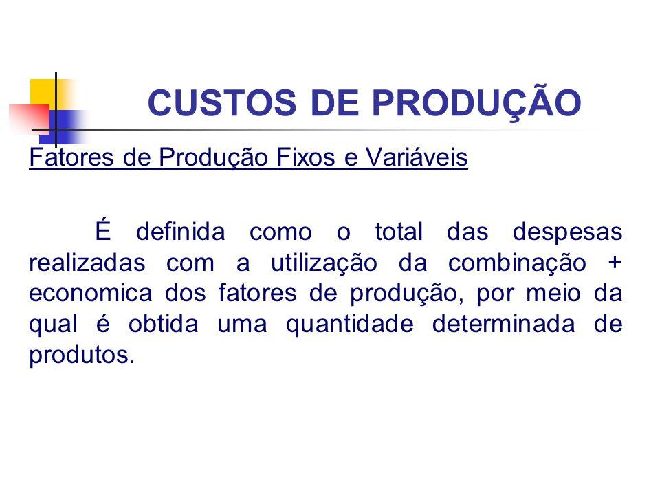 CUSTOS DE PRODUÇÃO Fatores de Produção Fixos e Variáveis É definida como o total das despesas realizadas com a utilização da combinação + economica do