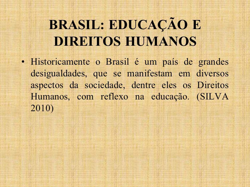 BRASIL: EDUCAÇÃO E DIREITOS HUMANOS Historicamente o Brasil é um país de grandes desigualdades, que se manifestam em diversos aspectos da sociedade, d