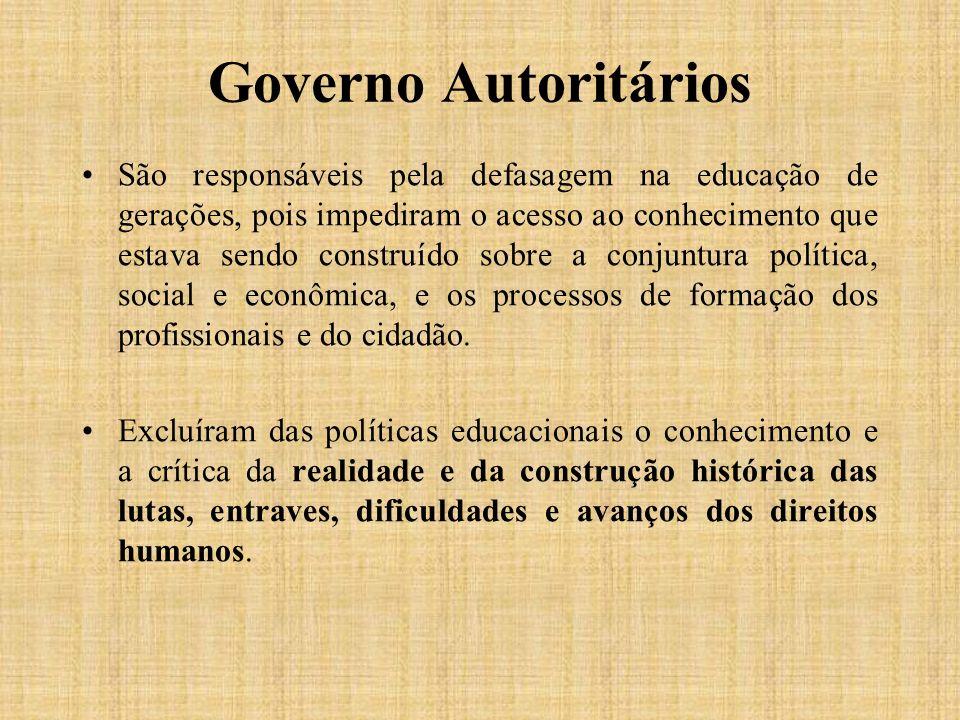 Governo Autoritários São responsáveis pela defasagem na educação de gerações, pois impediram o acesso ao conhecimento que estava sendo construído sobr