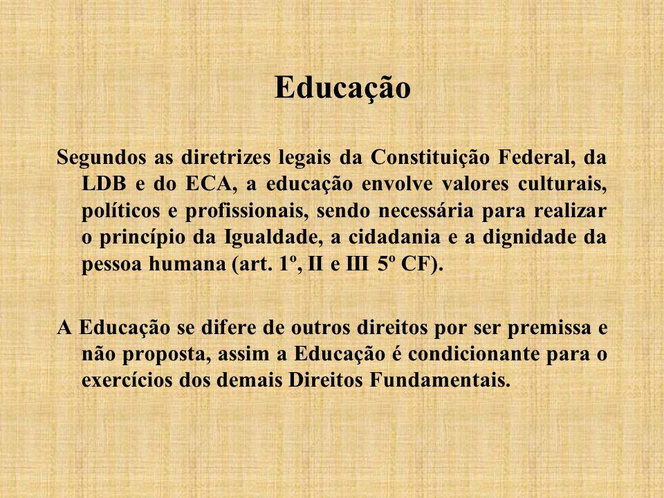 Educação Segundos as diretrizes legais da Constituição Federal, da LDB e do ECA, a educação envolve valores culturais, políticos e profissionais, send