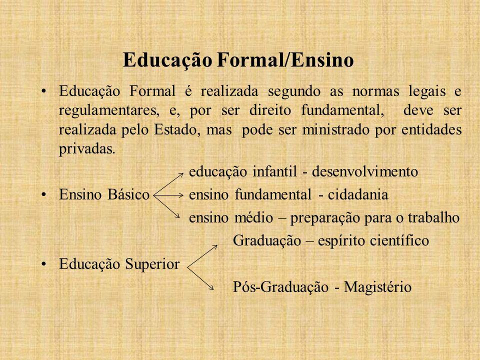 Educação Formal/Ensino Educação Formal é realizada segundo as normas legais e regulamentares, e, por ser direito fundamental, deve ser realizada pelo