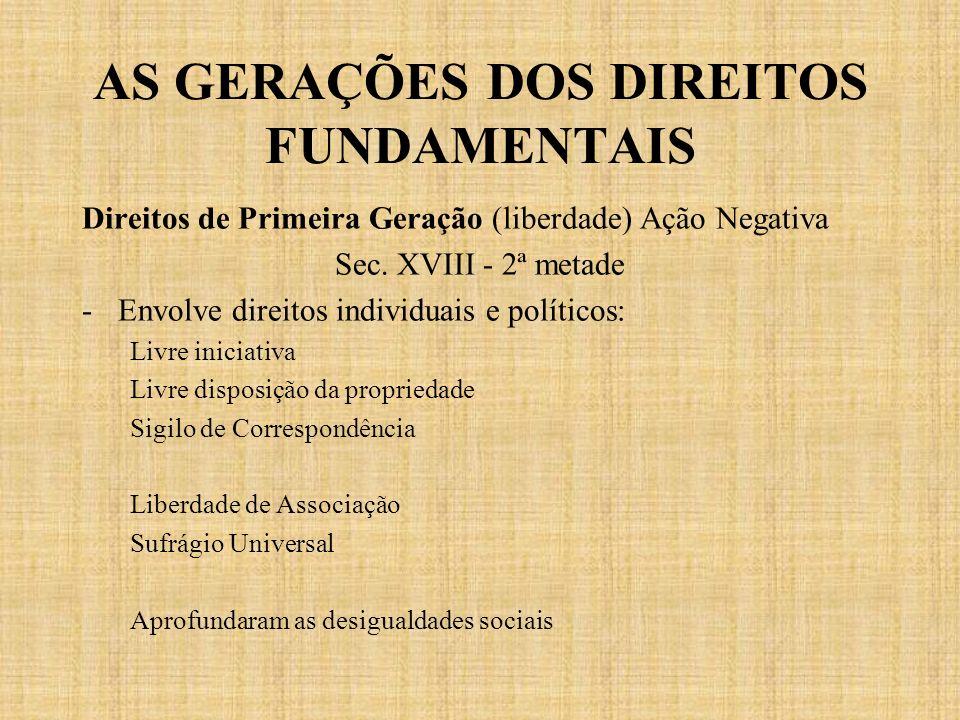 AS GERAÇÕES DOS DIREITOS FUNDAMENTAIS Direitos de Primeira Geração (liberdade) Ação Negativa Sec. XVIII - 2ª metade -Envolve direitos individuais e po