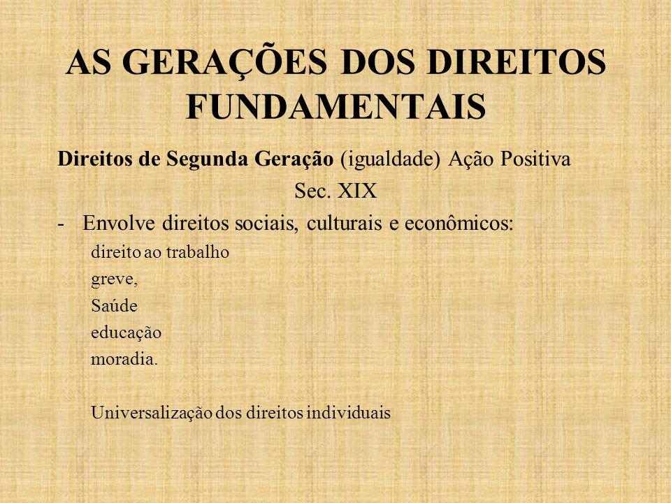 AS GERAÇÕES DOS DIREITOS FUNDAMENTAIS Direitos de Segunda Geração (igualdade) Ação Positiva Sec. XIX -Envolve direitos sociais, culturais e econômicos