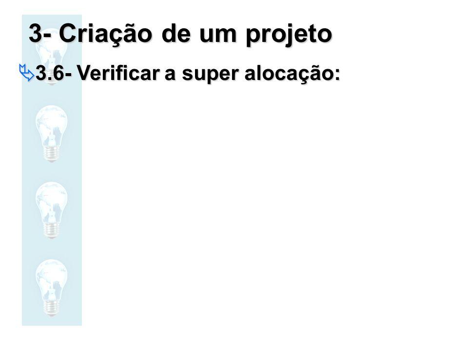 3- Criação de um projeto 3.6- Verificar a super alocação: 3.6- Verificar a super alocação: