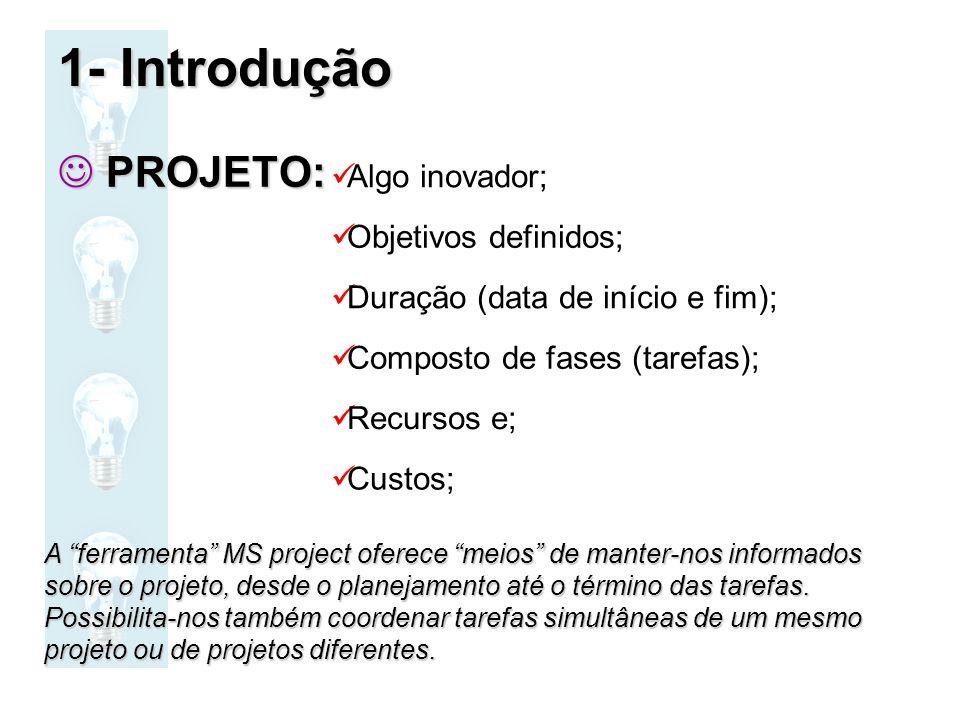 PROJETO: PROJETO: Algo inovador; Objetivos definidos; Duração (data de início e fim); Composto de fases (tarefas); Recursos e; Custos; A ferramenta MS