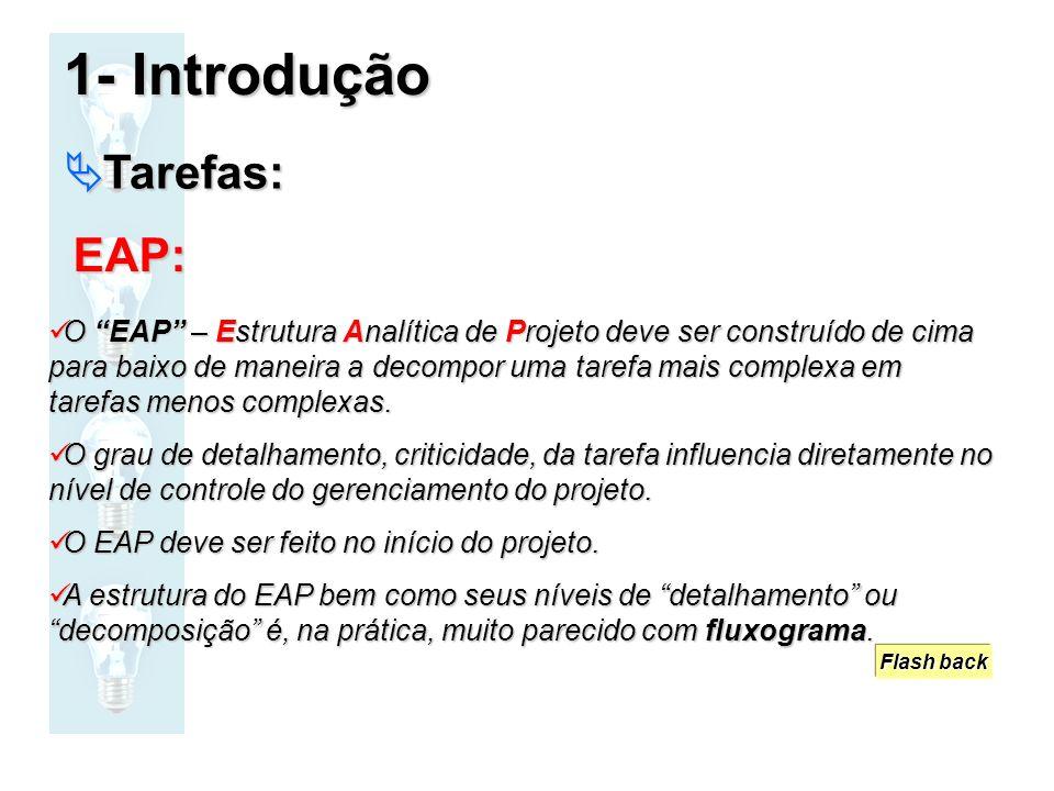 O EAP – Estrutura Analítica de Projeto deve ser construído de cima para baixo de maneira a decompor uma tarefa mais complexa em tarefas menos complexa