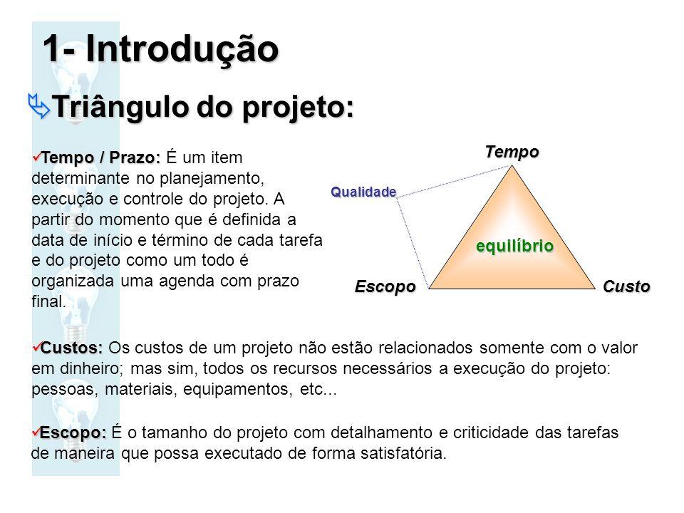 Triângulo do projeto: Triângulo do projeto:TempoCustoEscopo Tempo / Prazo: Tempo / Prazo: É um item determinante no planejamento, execução e controle