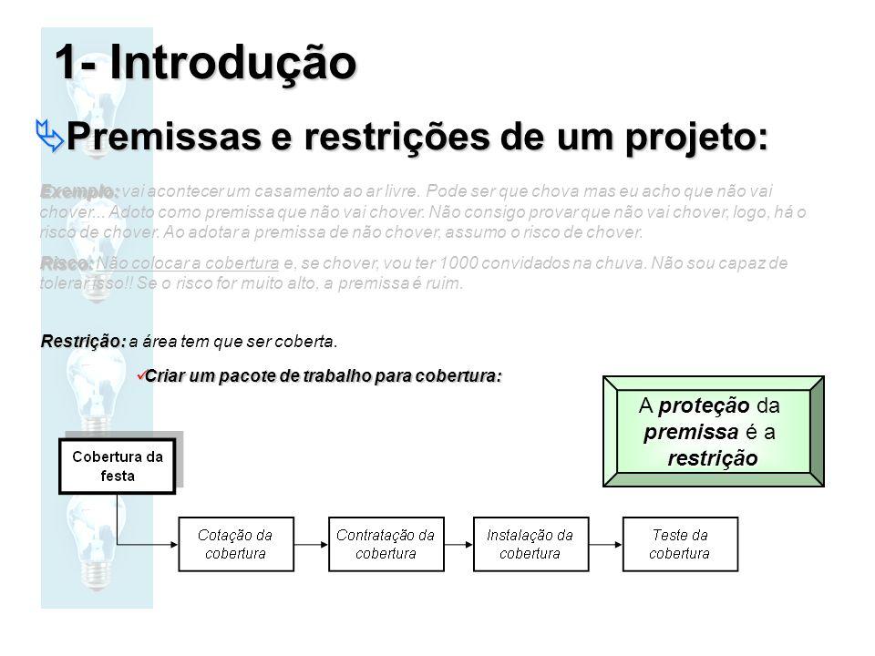 Premissas e restrições de um projeto: Premissas e restrições de um projeto: Exemplo: Exemplo: vai acontecer um casamento ao ar livre. Pode ser que cho