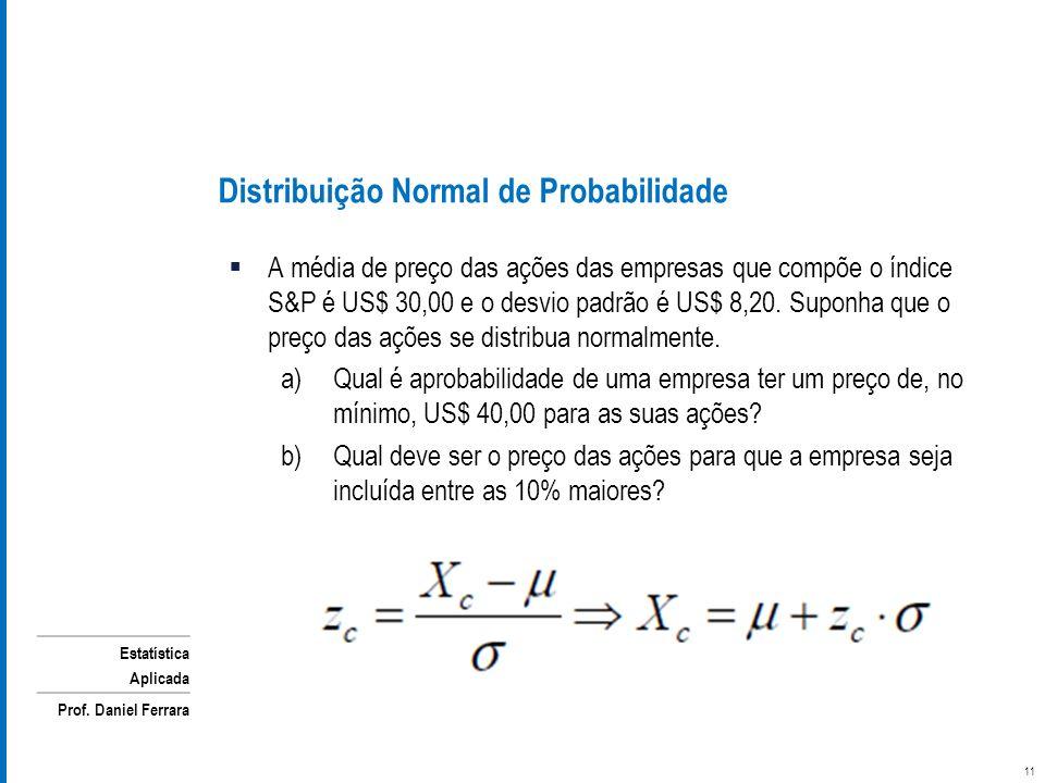 Estatística Aplicada Prof. Daniel Ferrara A média de preço das ações das empresas que compõe o índice S&P é US$ 30,00 e o desvio padrão é US$ 8,20. Su