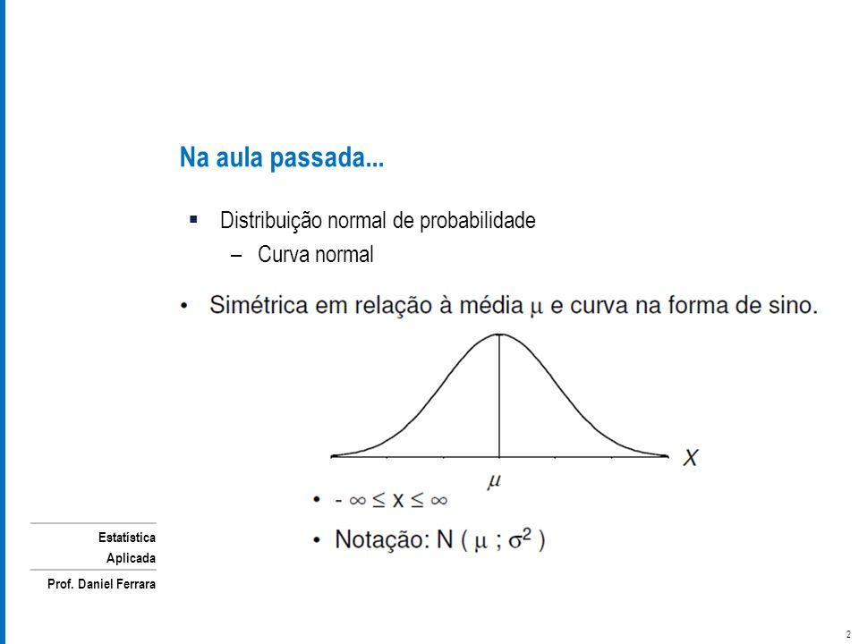 Estatística Aplicada Prof. Daniel Ferrara Na aula passada... Distribuição normal de probabilidade –Curva normal 2