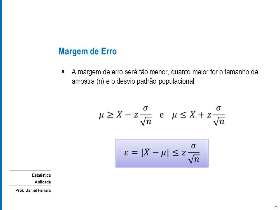 Estatística Aplicada Prof. Daniel Ferrara A margem de erro será tão menor, quanto maior for o tamanho da amostra (n) e o desvio padrão populacional Ma