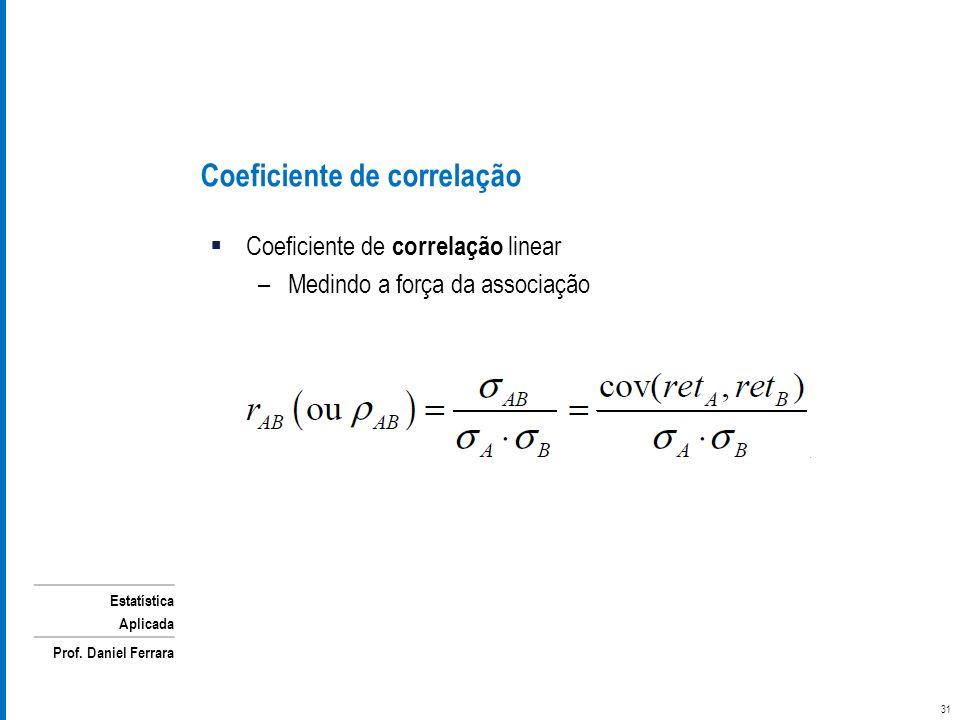 Estatística Aplicada Prof. Daniel Ferrara Coeficiente de correlação linear –Medindo a força da associação Coeficiente de correlação 31