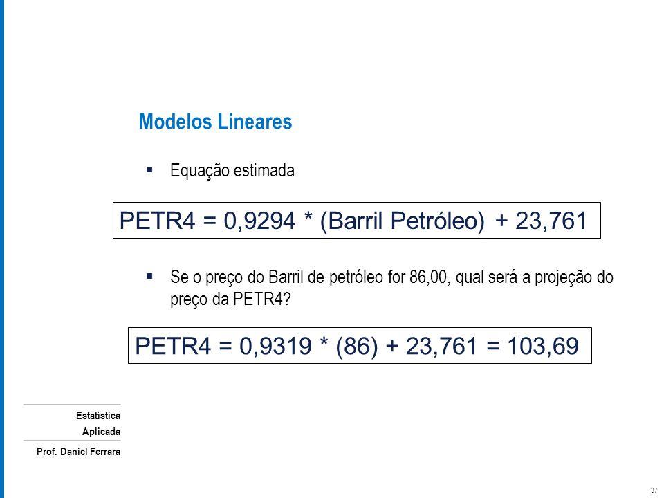 Estatística Aplicada Prof. Daniel Ferrara Equação estimada Se o preço do Barril de petróleo for 86,00, qual será a projeção do preço da PETR4? Modelos