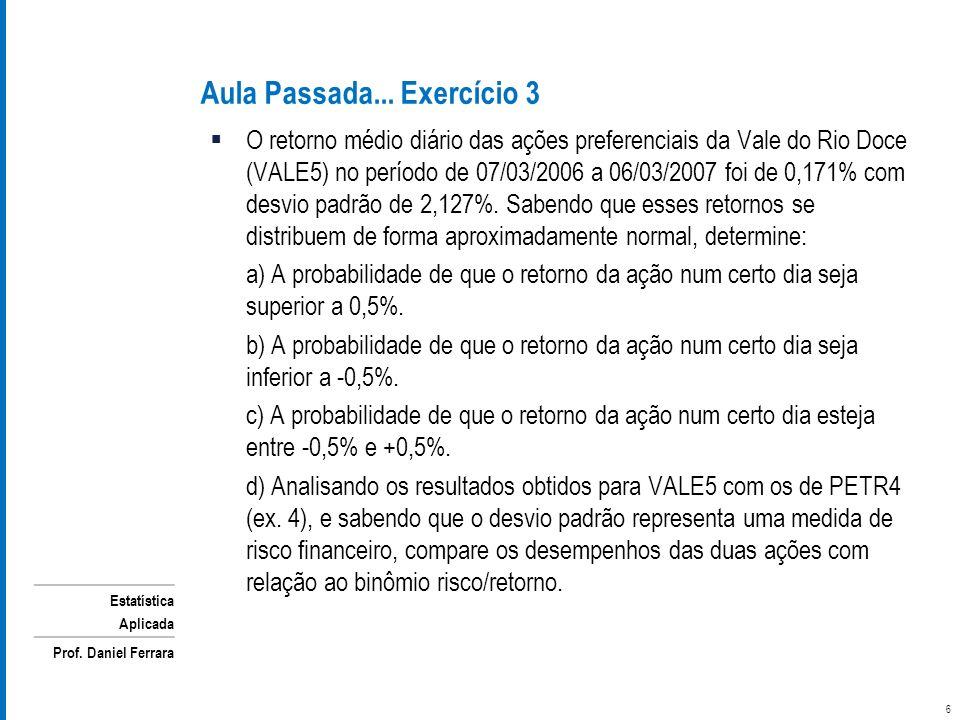 Estatística Aplicada Prof. Daniel Ferrara O retorno médio diário das ações preferenciais da Vale do Rio Doce (VALE5) no período de 07/03/2006 a 06/03/