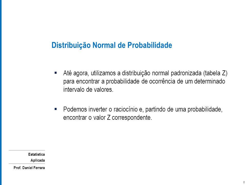 Estatística Aplicada Prof. Daniel Ferrara Até agora, utilizamos a distribuição normal padronizada (tabela Z) para encontrar a probabilidade de ocorrên