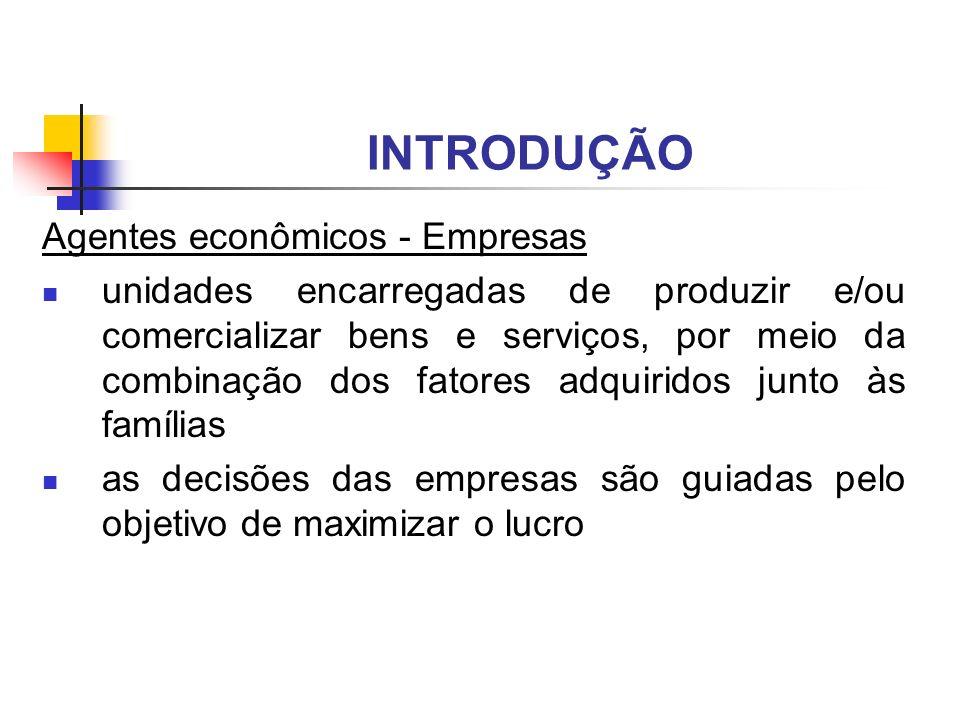 INTRODUÇÃO Agentes econômicos - Empresas unidades encarregadas de produzir e/ou comercializar bens e serviços, por meio da combinação dos fatores adqu