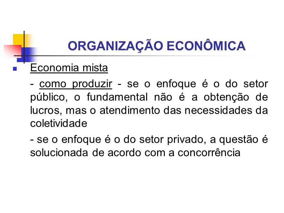 ORGANIZAÇÃO ECONÔMICA Economia mista - como produzir - se o enfoque é o do setor público, o fundamental não é a obtenção de lucros, mas o atendimento