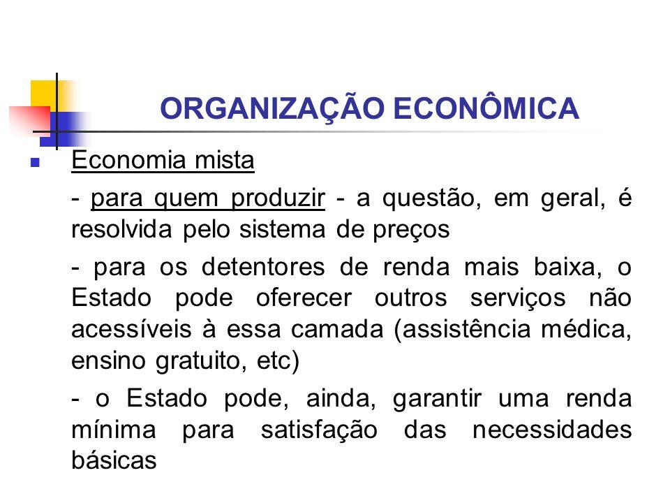 ORGANIZAÇÃO ECONÔMICA Economia mista - para quem produzir - a questão, em geral, é resolvida pelo sistema de preços - para os detentores de renda mais