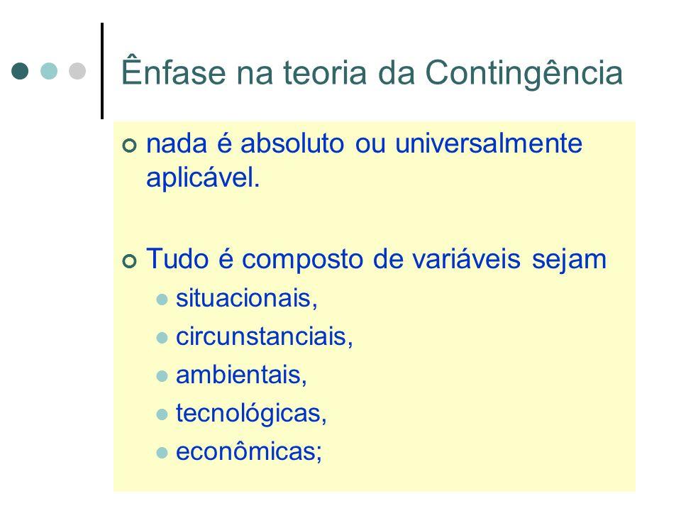 Ênfase na teoria da Contingência nada é absoluto ou universalmente aplicável.
