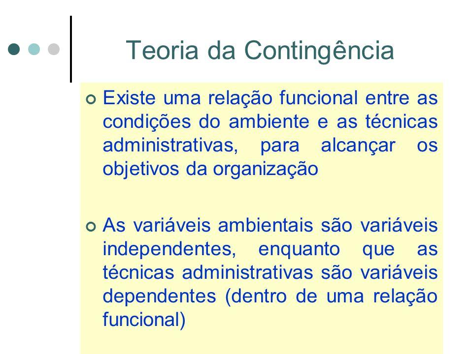 Teoria da Contingência Existe uma relação funcional entre as condições do ambiente e as técnicas administrativas, para alcançar os objetivos da organização As variáveis ambientais são variáveis independentes, enquanto que as técnicas administrativas são variáveis dependentes (dentro de uma relação funcional)