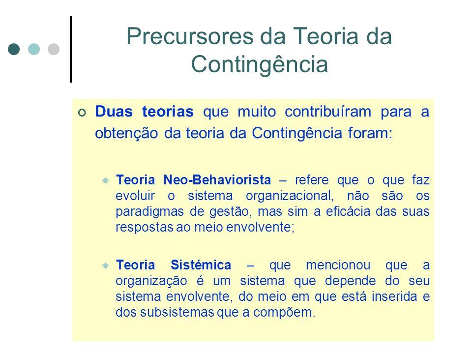 Precursores da Teoria da Contingência Duas teorias que muito contribuíram para a obtenção da teoria da Contingência foram: Teoria Neo-Behaviorista – refere que o que faz evoluir o sistema organizacional, não são os paradigmas de gestão, mas sim a eficácia das suas respostas ao meio envolvente; Teoria Sistémica – que mencionou que a organização é um sistema que depende do seu sistema envolvente, do meio em que está inserida e dos subsistemas que a compõem.