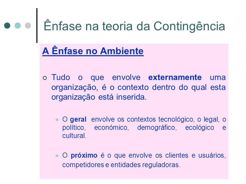 Ênfase na teoria da Contingência A Ênfase no Ambiente Tudo o que envolve externamente uma organização, é o contexto dentro do qual esta organização está inserida.