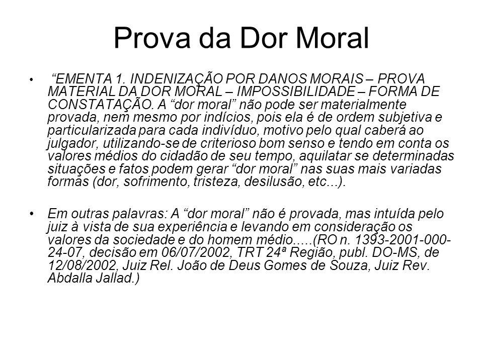 Prova da Dor Moral EMENTA 1. INDENIZAÇÃO POR DANOS MORAIS – PROVA MATERIAL DA DOR MORAL – IMPOSSIBILIDADE – FORMA DE CONSTATAÇÃO. A dor moral não pode