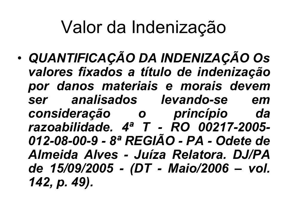 Valor da Indenização QUANTIFICAÇÃO DA INDENIZAÇÃO Os valores fixados a título de indenização por danos materiais e morais devem ser analisados levando