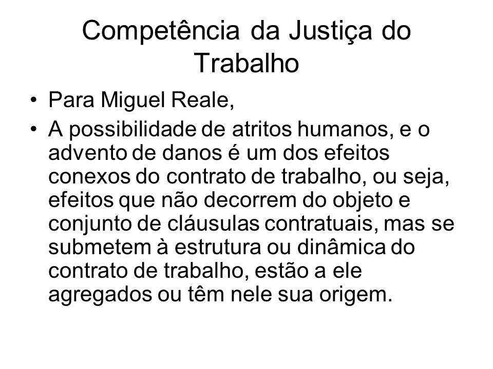 Competência da Justiça do Trabalho Para Miguel Reale, A possibilidade de atritos humanos, e o advento de danos é um dos efeitos conexos do contrato de