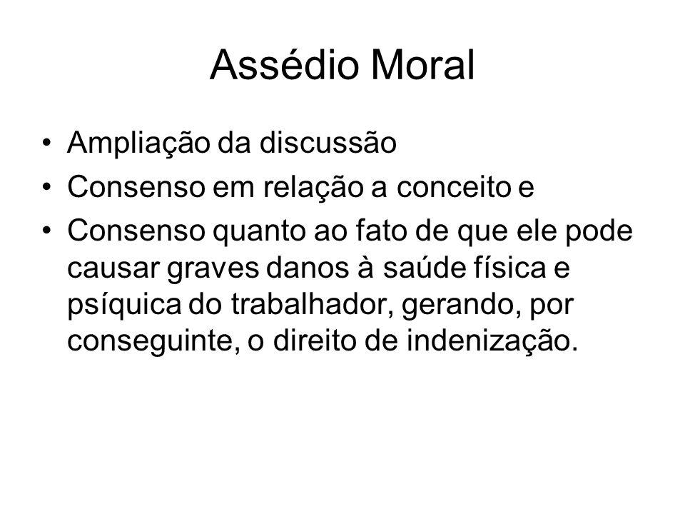 Assédio Moral Ampliação da discussão Consenso em relação a conceito e Consenso quanto ao fato de que ele pode causar graves danos à saúde física e psí