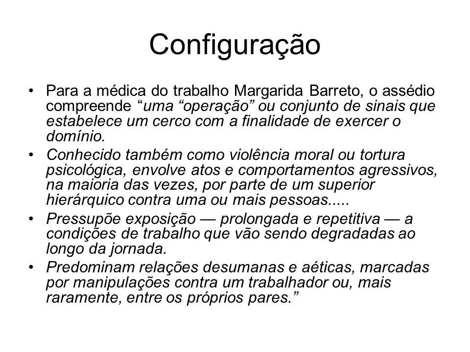 Configuração Para a médica do trabalho Margarida Barreto, o assédio compreende uma operação ou conjunto de sinais que estabelece um cerco com a finali