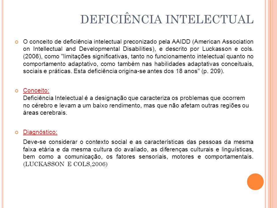 O conceito de deficiência intelectual preconizado pela AAIDD (American Association on Intellectual and Developmental Disabilities), e descrito por Luckasson e cols.