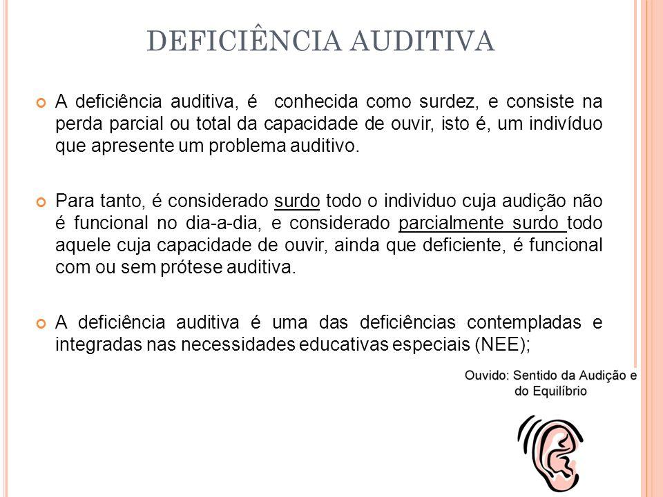 A deficiência auditiva, é conhecida como surdez, e consiste na perda parcial ou total da capacidade de ouvir, isto é, um indivíduo que apresente um problema auditivo.