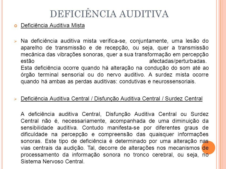 Deficiência Auditiva Mista Na deficiência auditiva mista verifica-se, conjuntamente, uma lesão do aparelho de transmissão e de recepção, ou seja, quer a transmissão mecânica das vibrações sonoras, quer a sua transformação em percepção estão afectadas/perturbadas.