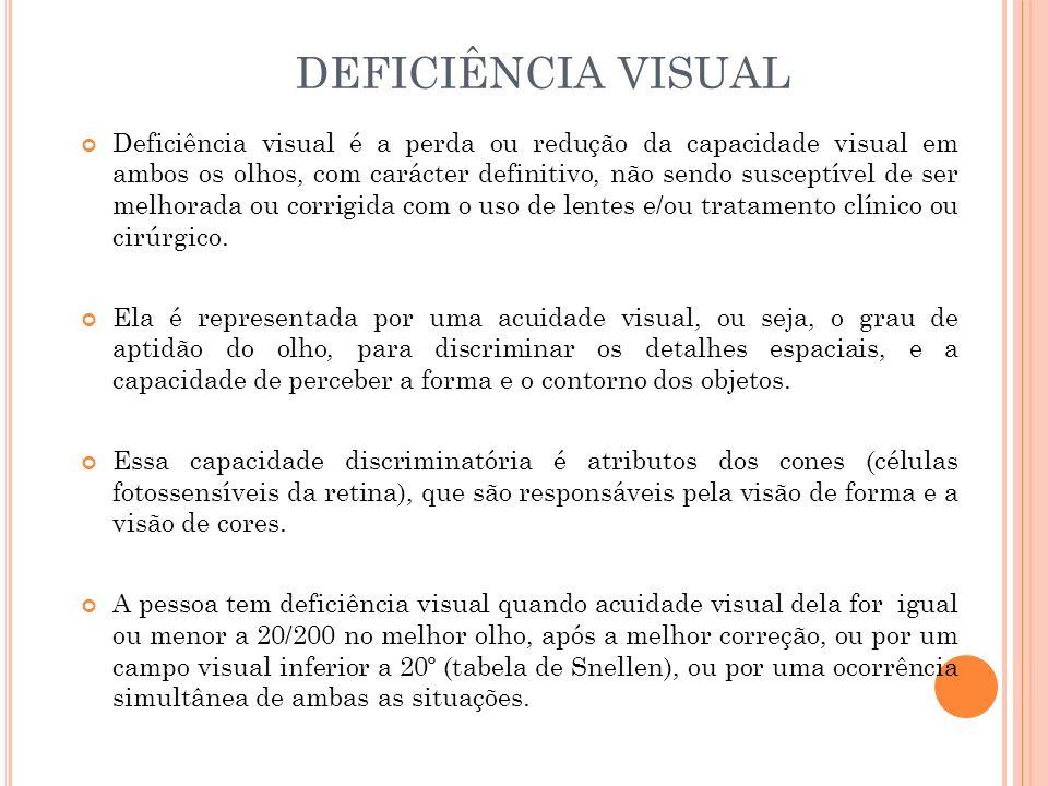 Deficiência visual é a perda ou redução da capacidade visual em ambos os olhos, com carácter definitivo, não sendo susceptível de ser melhorada ou corrigida com o uso de lentes e/ou tratamento clínico ou cirúrgico.