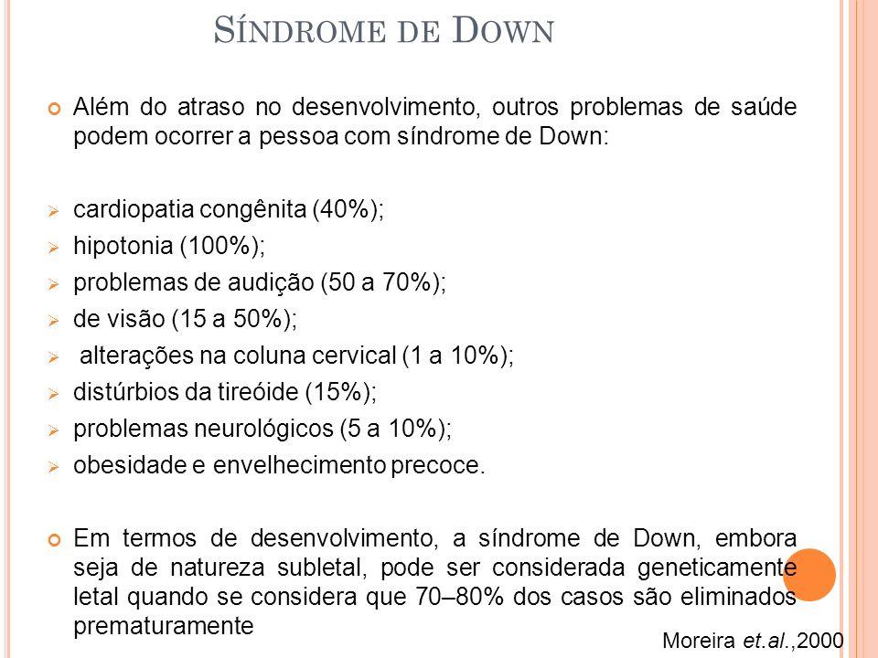 Além do atraso no desenvolvimento, outros problemas de saúde podem ocorrer a pessoa com síndrome de Down: cardiopatia congênita (40%); hipotonia (100%); problemas de audição (50 a 70%); de visão (15 a 50%); alterações na coluna cervical (1 a 10%); distúrbios da tireóide (15%); problemas neurológicos (5 a 10%); obesidade e envelhecimento precoce.