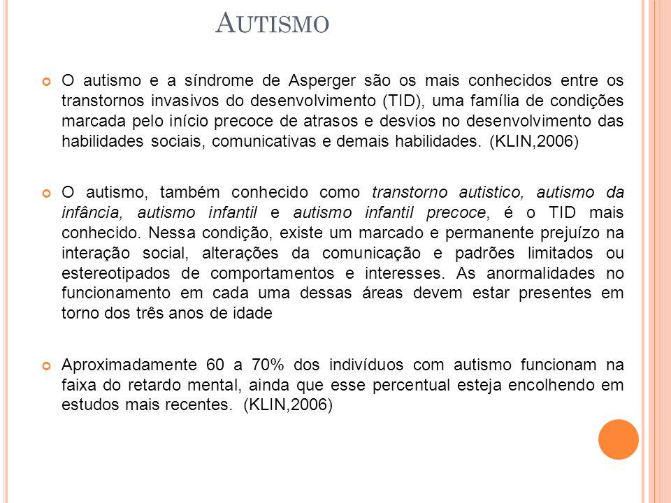 A UTISMO O autismo e a síndrome de Asperger são os mais conhecidos entre os transtornos invasivos do desenvolvimento (TID), uma família de condições marcada pelo início precoce de atrasos e desvios no desenvolvimento das habilidades sociais, comunicativas e demais habilidades.