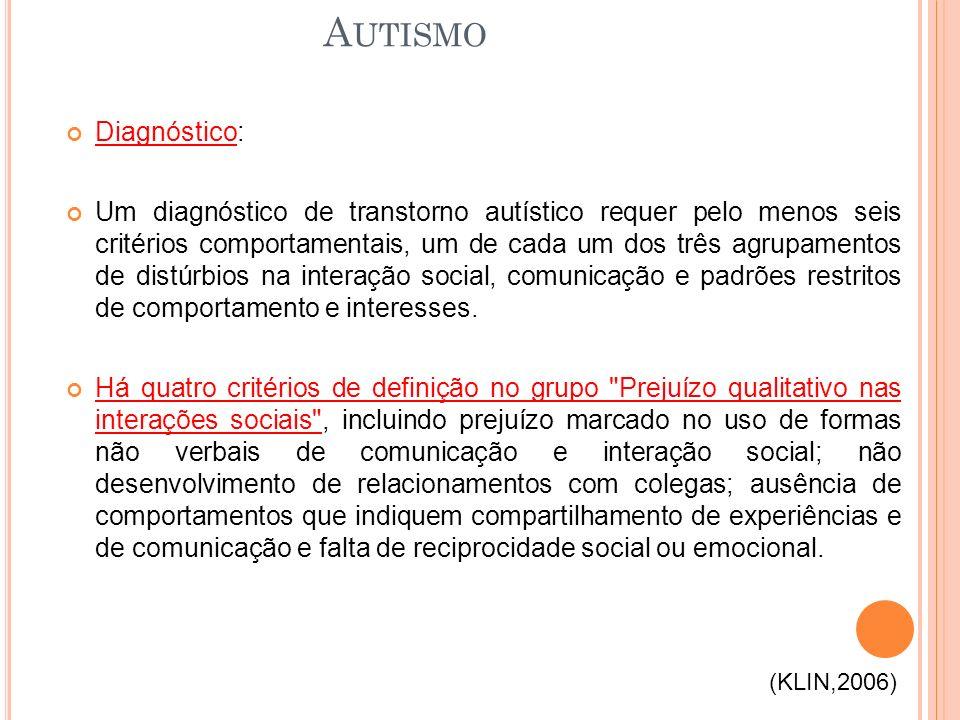 Diagnóstico: Um diagnóstico de transtorno autístico requer pelo menos seis critérios comportamentais, um de cada um dos três agrupamentos de distúrbios na interação social, comunicação e padrões restritos de comportamento e interesses.