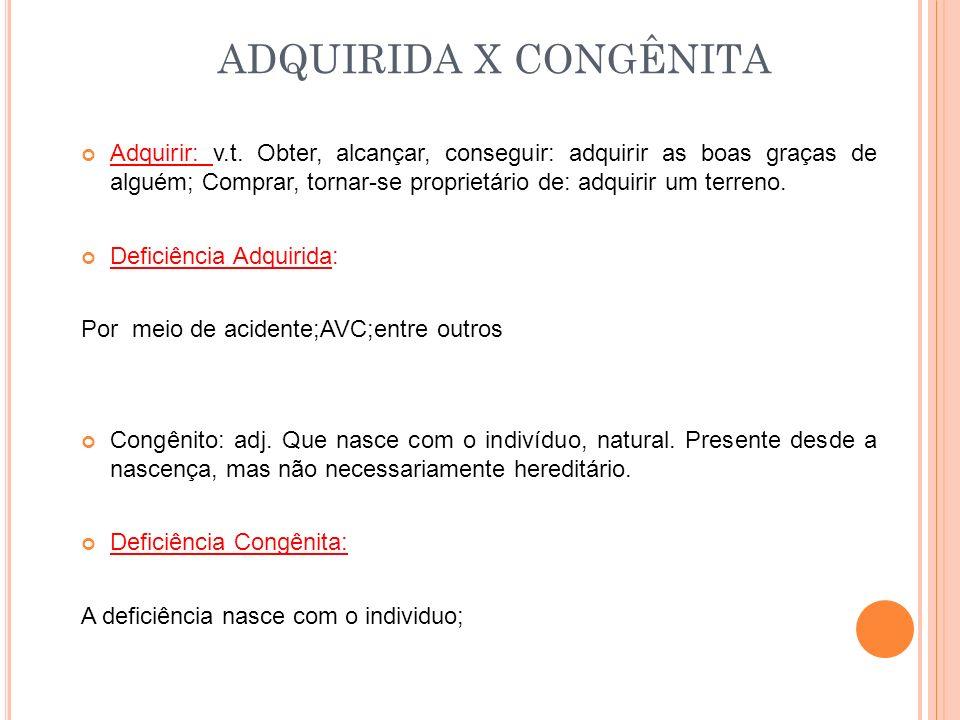 ADQUIRIDA X CONGÊNITA Adquirir: v.t.